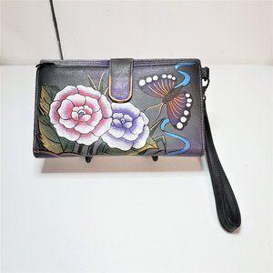 Anuschka Purple Butterfly Leather Wallet Wristlet